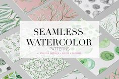 Fresh Seamless Watercolor Patterns! by TSTUDIO on @creativemarket