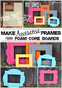 Take a regular foam board from @Elmer's and turn it into these funky frames - - click through for the tutorial on how-to make DIY Foam Frames of Awesomeness: Sugar Bee Crafts