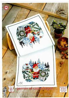 Christmas Cross, Xmas, Christmas Ornaments, Cross Stitch Numbers, Christmas Embroidery, Cross Stitching, Table Runners, Cross Stitch Patterns, Needlework