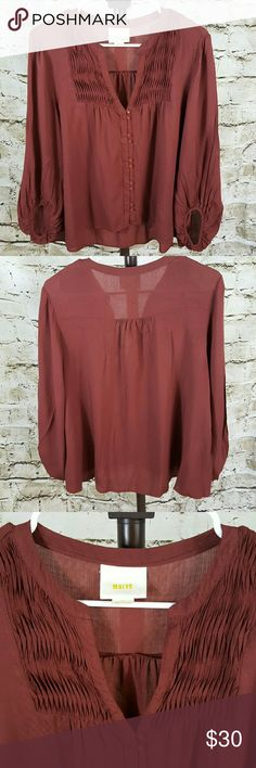 """Anthropologie Maeve blouse Pin tuck detail cute buttons down the front, high low hem excellent condition 22"""" across from armpit to armpit and 23"""" long from shoulder to hem in front and 27"""" in back red brick color Anthropologie Tops Blouses"""