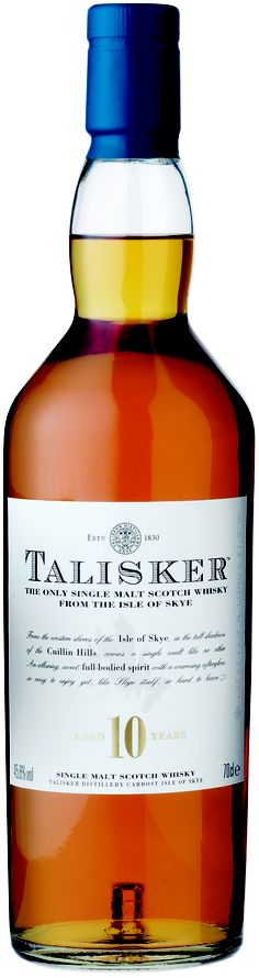 @Home (Talisker 10 years / Isle) | Representative of the Isle of Skye, just off the west coast of Scotland and a few hundred miles North of the famous Islay, which flavors set it apart from other whiskies.    The nose gives you a great range of flavors the first thing I get is the smell of the sea, brine and iodine, but also a hint of ripe orange peel. When you try it make sure you get your nose right into the glass and give it a good long sniff to really savor and enjoy the nose.