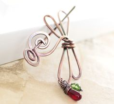 Handmade dragonfly shawl pin or scarf pin in copper by IngoDesign, $28.00