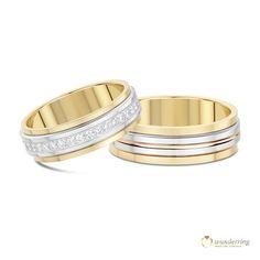 Ein äußerer Ring schmiegt sich an einen Inneren und die beiden drehen sich umeinander –wunderring® Turn-Trauringe stehen für eine wundervolle Symbolik. Eheringe Tortuga in Bicolor mit Diamanten und in Tricolor,750er Gold, €2328 #Diamantring #Hochzeit