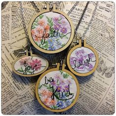 Isa Creative Musings: Mini Embroidery Hoop Pendants and Vintage Embroidered Linens