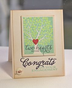 Beautiful engagement card using PTI's Love & Marriage stamp set by Lisa Johnson