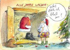 Peter Gaymann Postkarte Alle Jahre wieder