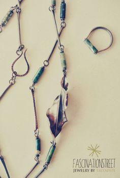 Fascinationstreet B-handmade: Collana e anello in rame e agata muschiata e foglia in foldforming