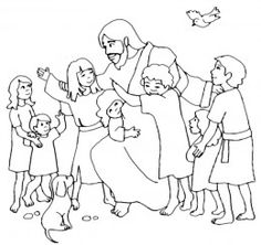 new testament coloring pages education pinterest jesus feeds 5000 sunday school and bible - Jesus Children Coloring Pages