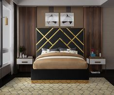 Meridian Furniture Vector Cream Gold metal / cream velvet contemporary king bed Take your bedroom space to a Black Queen, Contemporary Bedroom, Contemporary Furniture, Black And Cream Bedroom, White King Size Bed, Meridian Furniture, Bedroom Bed Design, Types Of Beds, Headboards