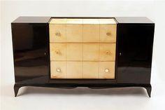 Art Deco Black Lacquer and Parchment Cabinet