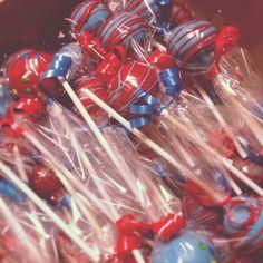 Cake Pops I made for #ReadAcrossAmerica  #HappyBirthdayDrSuess #DrSuess #Redandblue