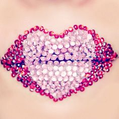 Rhinestone Gem Heart Lips