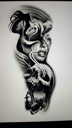 Skull Tattoo Design, Tattoo Design Drawings, Tattoo Sleeve Designs, Tattoo Sketches, Skull Rose Tattoos, Skull Girl Tattoo, Black Tattoos, Chicano Art Tattoos, Body Art Tattoos