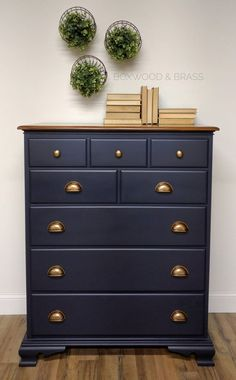 """Matching chest complete! Absolutely loved doing this set. Coastal Blue by General Finishes is easily one of my top colors. It goes on so smooth and in my opinion is the perfect navy!"" - Boxwood & Brass"