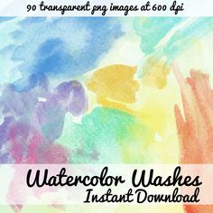 90 Watercolor Washes png files transparent backgrounds High resolution Textured Water Colors graphic digital scrapbooking