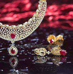 Jewellery Designs: Diamond Set with Classic Jhumka