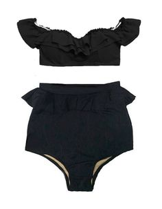 Black Off the Shoulder Frill Bra Top and Peplum by venderstore