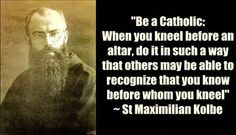 """Maximilian Kolbe""""Be a Catholic: When you kneel before an altar, do it in such a way that others may be able to recognize that you know before whom you kneel. Catholic Quotes, Catholic Prayers, Catholic Saints, Religious Quotes, Roman Catholic, Patron Saints, St Maximilian, Religion Catolica, Kingdom Of Heaven"""