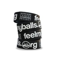 http://cheune.com/store FeelMyBalls.org Black wristband w/ White Lettering for Testicular Cancer Awareness