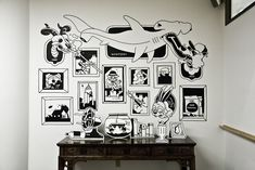 design studio mural black and white cartoon