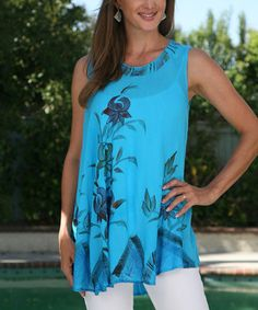 Turquoise Floral Hand-Painted Tunic