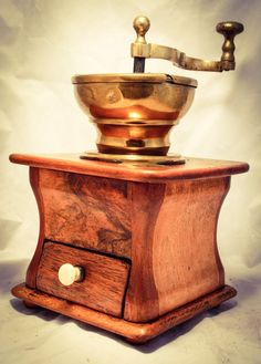 Antique LARGE Coffee Grinder Mill WALNUT Wood, Cast-iron and Brass RARE