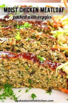 Rest assured, this Chicken Meatloaf with Vegetables is NOT dry and boring. It's soft, super moist and tasty with lots of hidden nutrition thanks to the onions, carrots and spinach. Your family will love this one. #chickenmeatloaf #bestcomfortfood #comfortfoodrecipes Turkey Recipes, Meat Recipes, Healthy Dinner Recipes, Food Processor Recipes, Chicken Recipes, Cooking Recipes, Recipies, Shrimp Recipes, Healthy Food