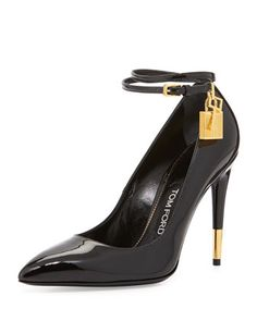 TOM FORD Patent Ankle-Lock Pump, Black Patent with hardware. Padlock and key ankle detail. lining and sole. Black High Heel Pumps, Black Patent Leather Shoes, Ankle Strap High Heels, Pointed Toe Pumps, Ankle Straps, Patent Shoes, Strap Heels, Black Shoes, Women's Shoes