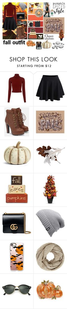 """fall outfit"" by omaduviemaya ❤ liked on Polyvore featuring A.L.C., WithChic, JustFab, K&K Interiors, Improvements, Gucci, The North Face, Casetify, John Lewis and Ray-Ban"