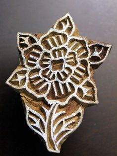 Hand Carved Indian Wood Textile Stamp - Flower.