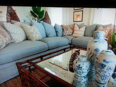 Blue living room.