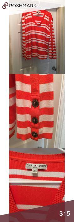 Tommy Hilfiger Plus Size Sweater Tommy Hilfiger Plus Size Sweater Orange and White Stripes Tommy Hilfiger Sweaters Crew & Scoop Necks
