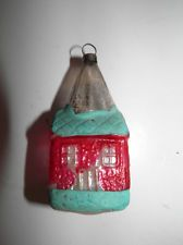 Antique Blown Mercury Glass Christmas Ornament - Church