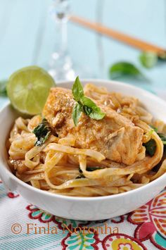 My Kitchen Treasures: Salmon Curry with Rice Noodles. Do lite coconut milk to cut the fat and calories.