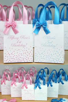 Elegant Birthday Party Favor Bags For Guests Baby Paper Bag With Satin Ribbon Handles Bow And Custom Name Personalized Gift