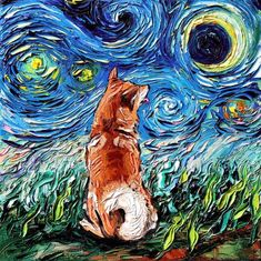 Starry Night Shiba Inu Art by Aja dog lover van Gogh choose size and type of paper Shiba Inu, Starry Night Art, Starry Nights, Arte Van Gogh, West Highland Terrier, Canvas Art Prints, Canvas Artwork, Dog Artwork, Artwork Pictures