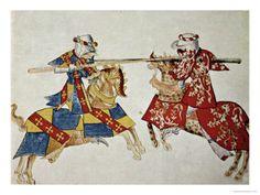 English School: Jousting Knights, circa 1445