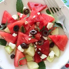 Chilled Watermelon Cucumber Feta Salad