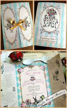 Alice in Wonderland Sweet sixteen Birthday Bridal Shower gatefold invitation elegant unique design blue gold pink vintage roses by Cupid Design Studio #AliceInWonderlandInvitation