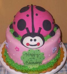 pink ladybug cake really cute Pink Ladybug Birthday, Bee Birthday Cake, Pretty Birthday Cakes, Pretty Cakes, Birthday Ideas, Art Birthday, Birthday Stuff, Birthday Parties, Cupcakes