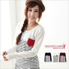 Buy 'Maymaylu Dreams – Contrast-Pocket Striped Top' with Free International Shipping at YesStyle.com. Browse and shop for thousands of Asian fashion items from Taiwan and more!