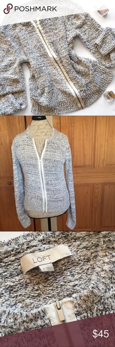 """LOFT Cozy Marled Zip Up Sweater Jacket Truth be told, I have no idea how to describe this amazing piece. I guess I would say """"all over fringe"""" because this is not a perfectly tight knitted sweater, but has lots of loose ends sticking out all over, giving a light fringe look. However, I simply cannot describe all of this sweater jackets awesomeness! Zip up front. 78% cotton, 8% rayon, 8% nylon, 6% other fibers. Excellent pre-loved condition!  🚫no trades 🚫no modeling ✅dog friendly/🚭smoke…"""