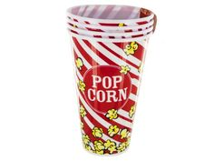 "Red Popcorn Bucket Cups Set, 4 - Great for movie night or using as gift baskets, this 4-piece Red Popcorn Bucket Cups Set features durable plastic containers with a fun popcorn print with red and white stripes for a movie theater experience at home. Each cup measures approximately 7"" tall and 4.5"" in diameter. Comes loose with a wrap around UPC label.-Colors: black,white,yellow,red. Material: plastic. Weight: 0.4375/unit"