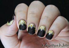 Black and gold embellished nailart #nailart #nails #black #gold