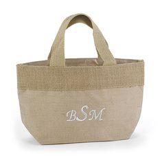 Custom Natural Jute Monogrammed Tote Bag http://bustlingbride.carlsoncraft.com/Wedding/Wedding-Party-Gifts/ZB-ZBKX61023P-Custom-Natural-Jute-Tote-Bag--Small.pro rustic gift ideas!