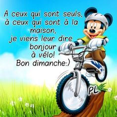 A ceux qui sont seuls, à ceux qui sont à la maison, je viens leur dire bonjour à vélo! Bon dimanche :) Good Morning Quotes, Smiley, Facebook, Dupont, Illustrations, Clocks, Annie, Twitter, Disney