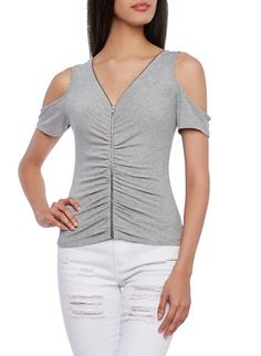 Ribbed Cold Shoulder Top With Zipper Front