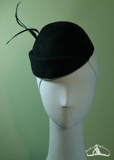 Black Wool Cuffed Women's Beanie Hat with Zipper Trim - Black Wool Women's Beanie Hat - OOAK