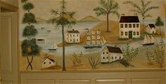 Sailing ship - rufus porter mural by Carole Holt. Mural Wall Art, Mural Painting, Paintings, Early American Decorating, Fresco, Primitive Painting, Hand Painted Furniture, Painted Walls, Folk Art