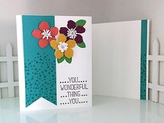 This card is so vibrant it's hard to believe it was made with just 2 little pieces of cardstock! Here are the measurements in case you missed them: -- Whispe...